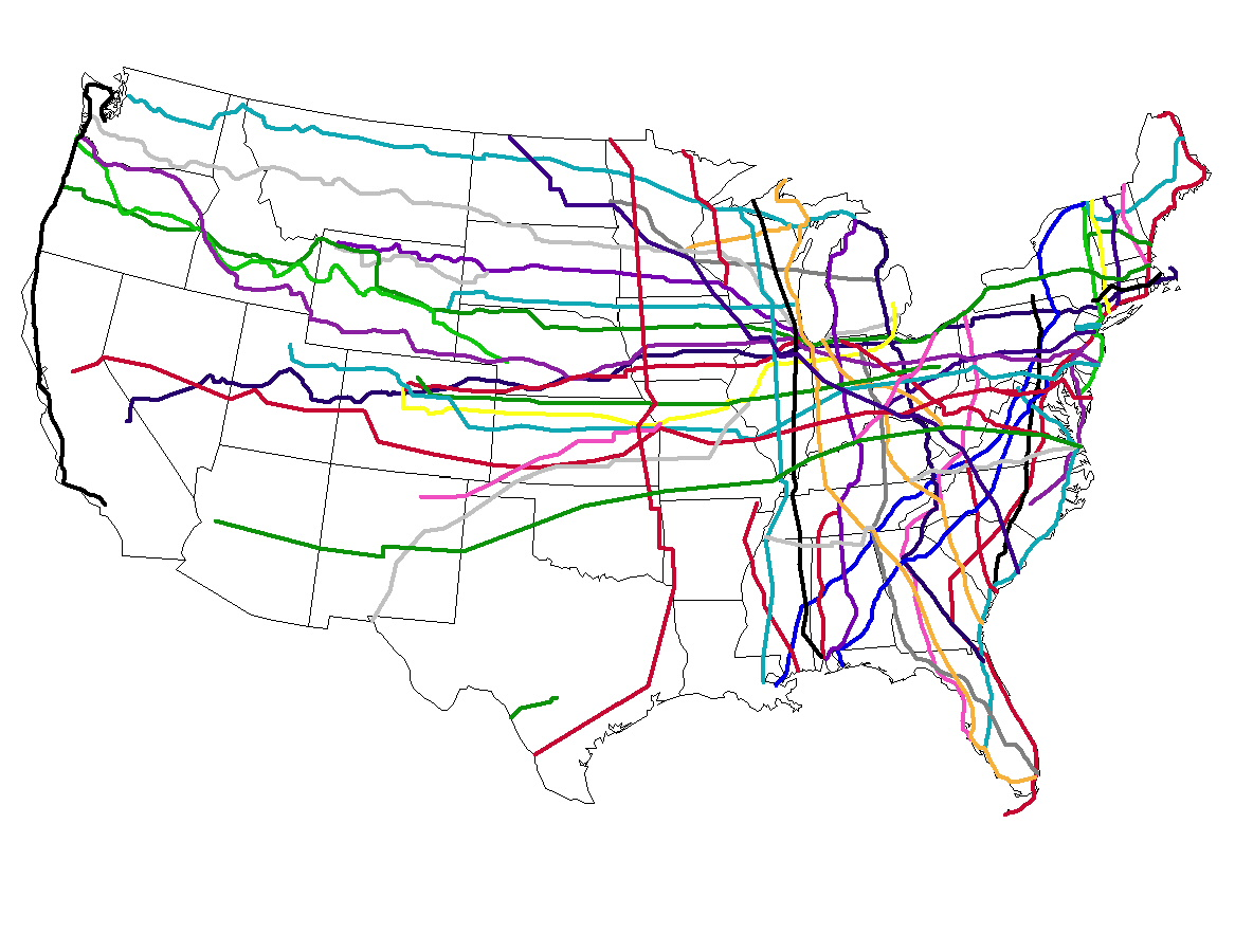 Map of US Highways included on Website