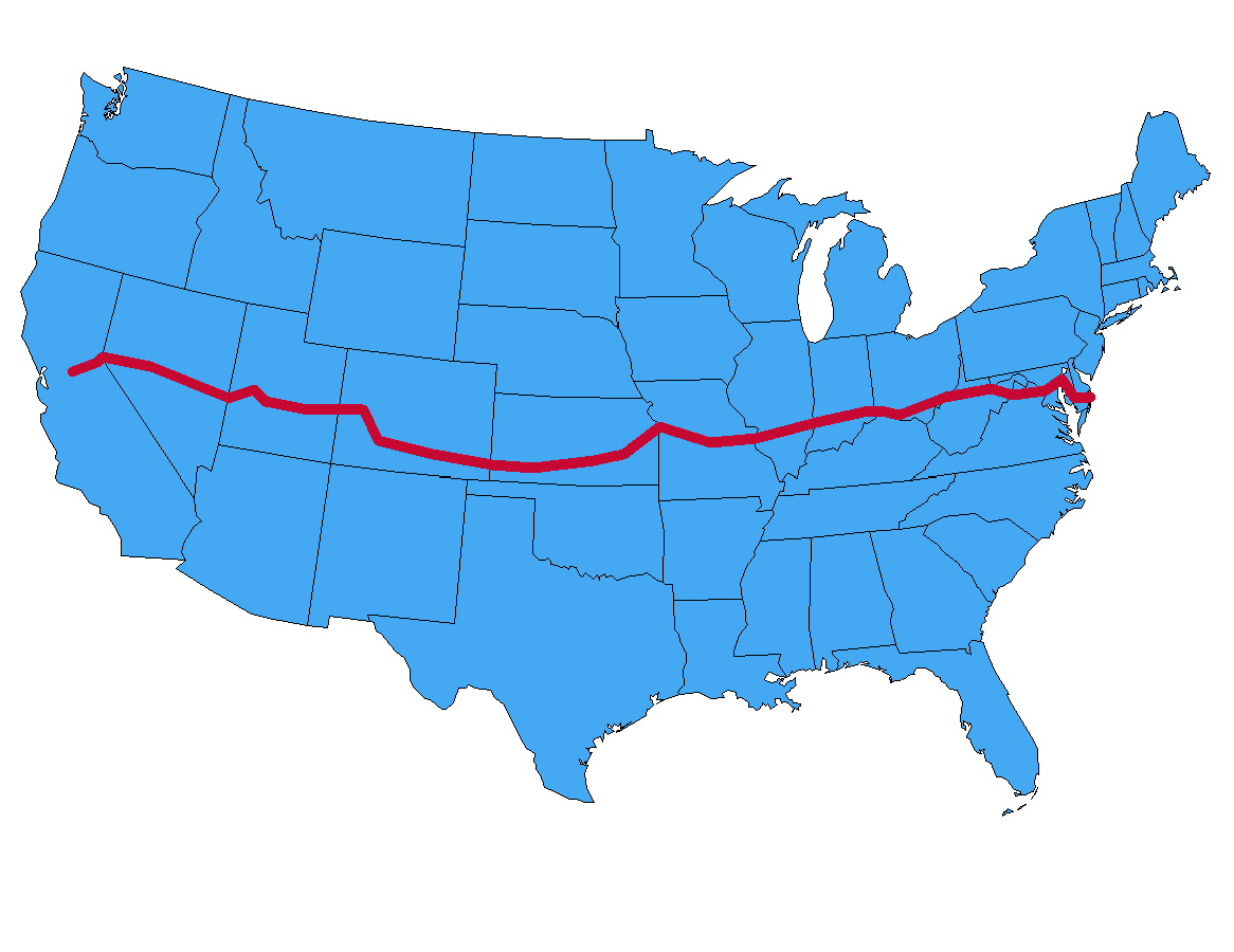 States Map The Loneliest Road US Driving Route ROAD TRIP USA - Map of us 50